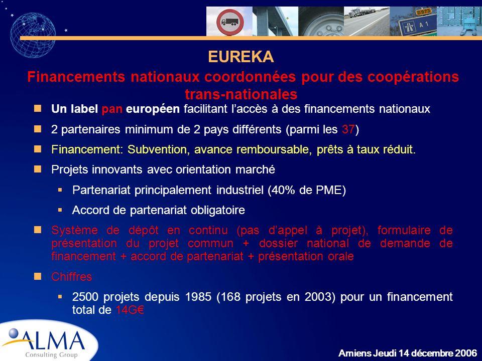 EUREKA Financements nationaux coordonnées pour des coopérations trans-nationales