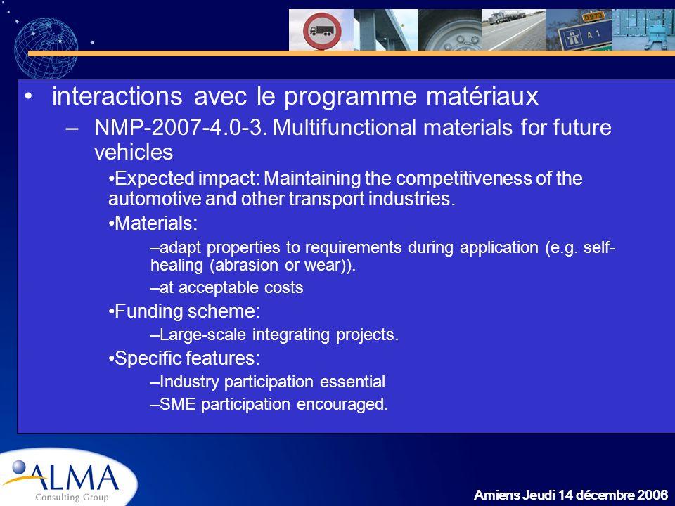 interactions avec le programme matériaux