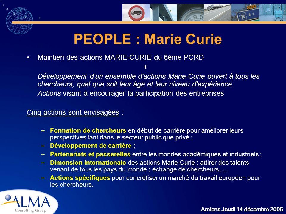 PEOPLE : Marie Curie Maintien des actions MARIE-CURIE du 6ème PCRD +