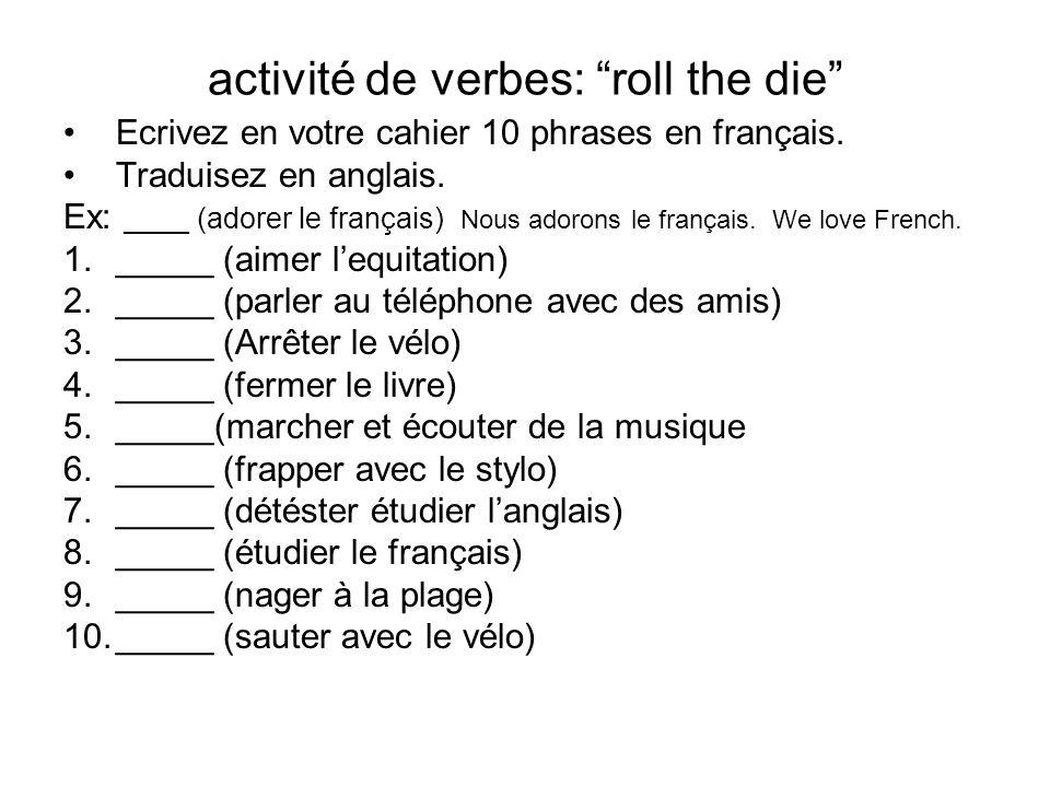 activité de verbes: roll the die