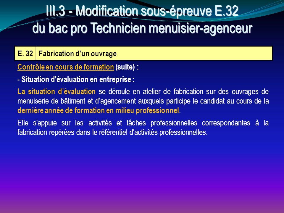 III. 3 - Modification sous-épreuve E