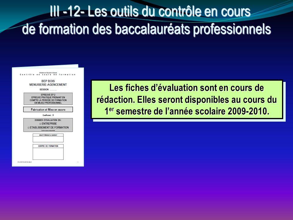 III -12- Les outils du contrôle en cours de formation des baccalauréats professionnels