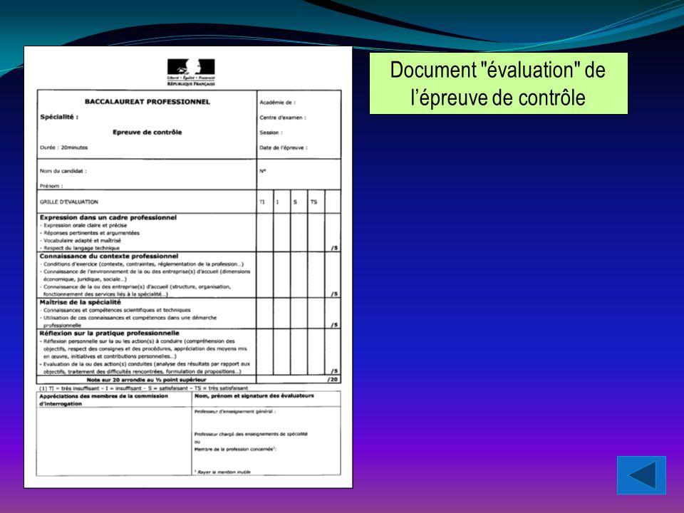 Document évaluation de l'épreuve de contrôle