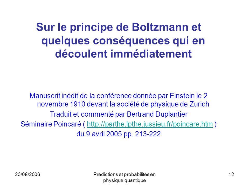 Sur le principe de Boltzmann et quelques conséquences qui en découlent immédiatement