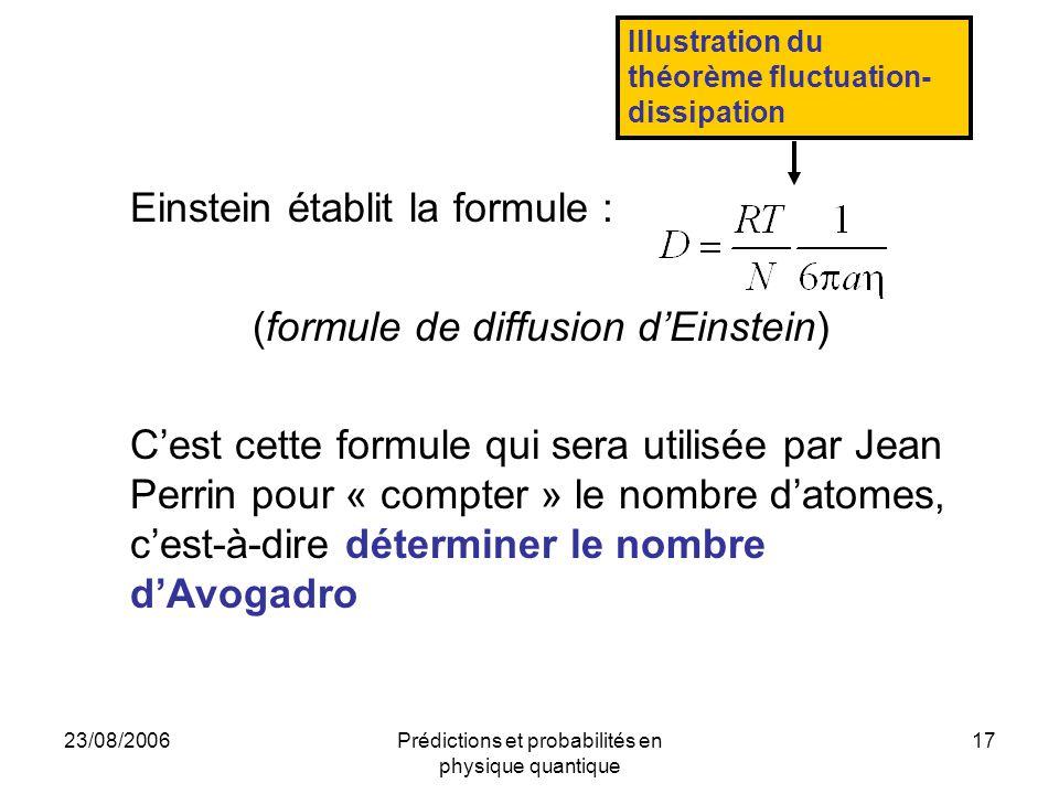 Einstein établit la formule : (formule de diffusion d'Einstein)