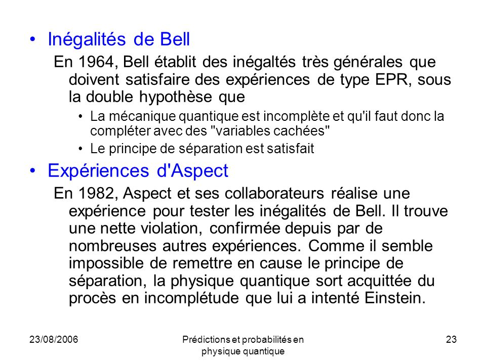 Prédictions et probabilités en physique quantique
