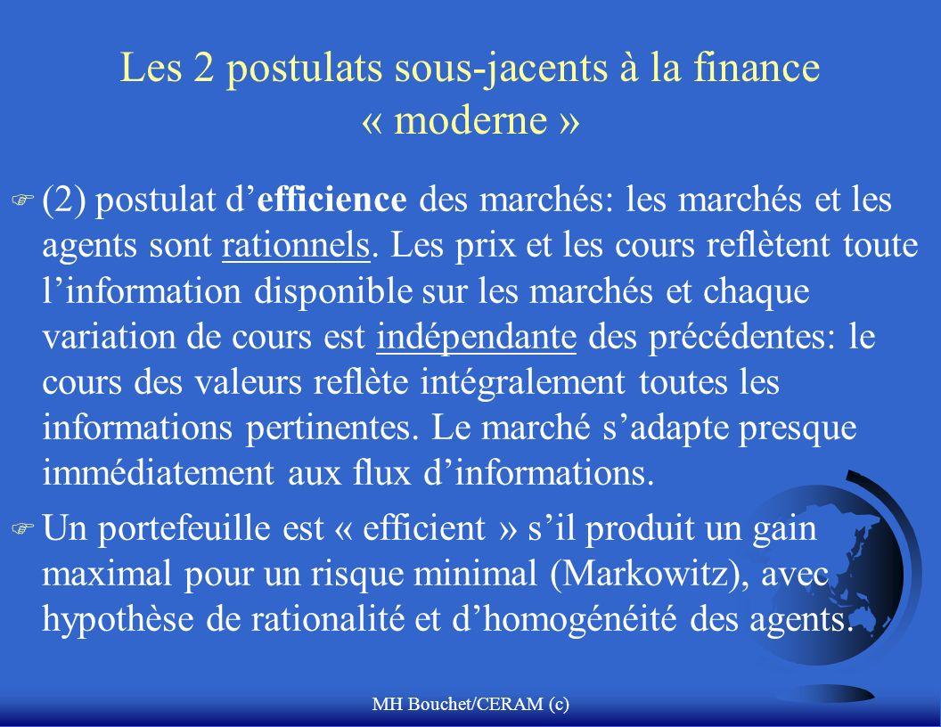 Les 2 postulats sous-jacents à la finance « moderne »