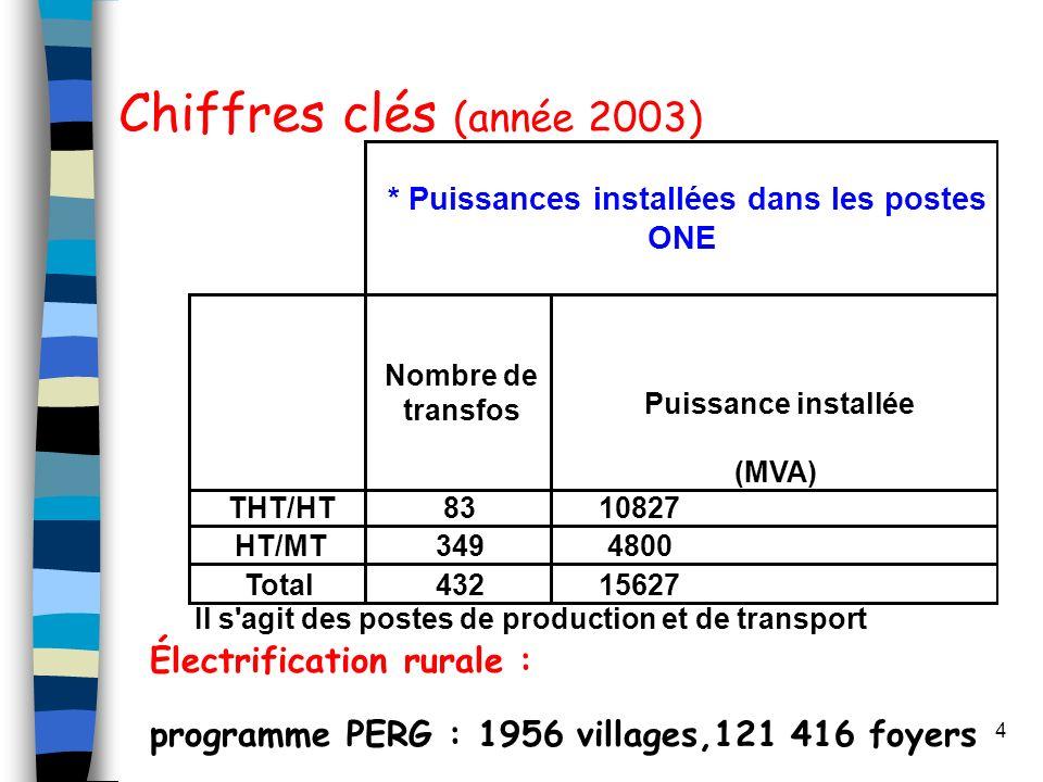 Chiffres clés (année 2003) Électrification rurale :