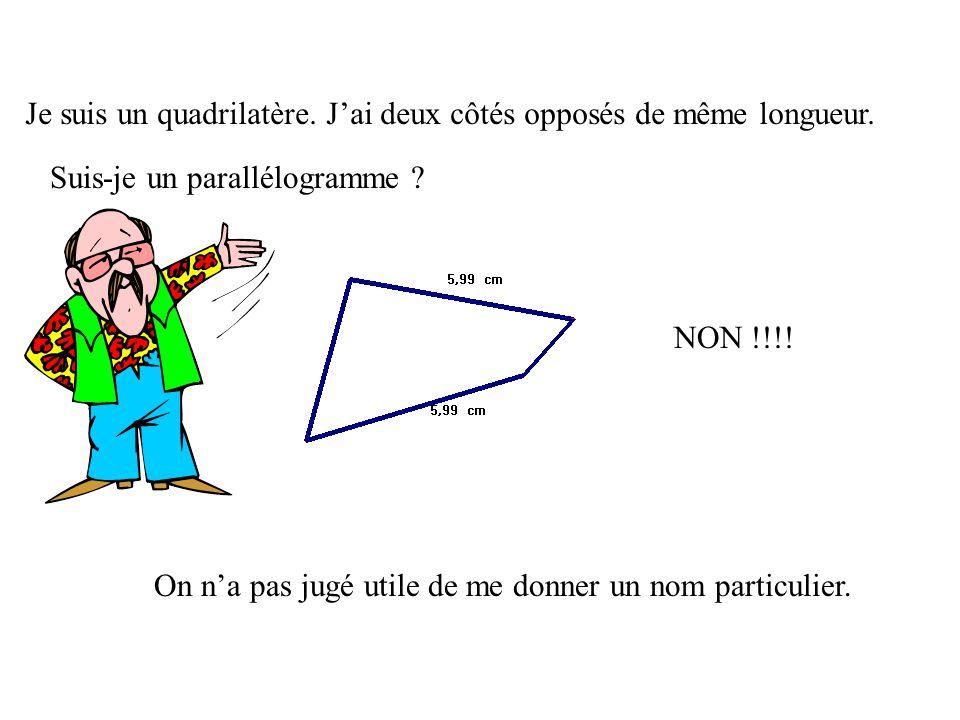 Je suis un quadrilatère. J'ai deux côtés opposés de même longueur.
