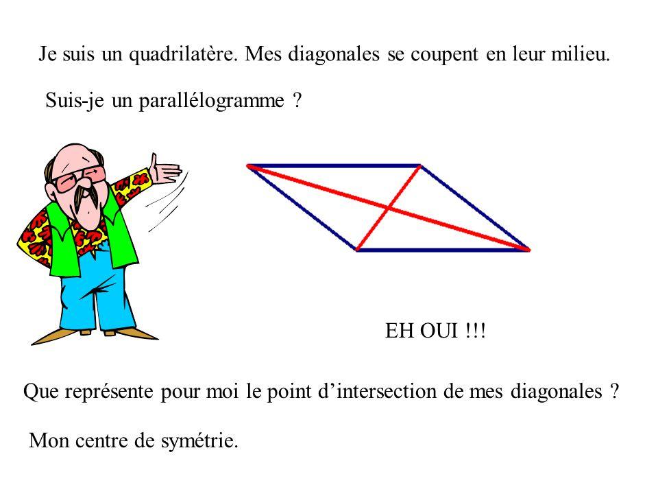 Je suis un quadrilatère. Mes diagonales se coupent en leur milieu.