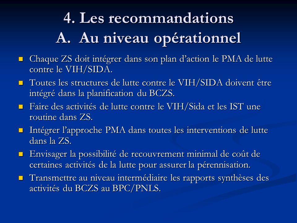 4. Les recommandations A. Au niveau opérationnel