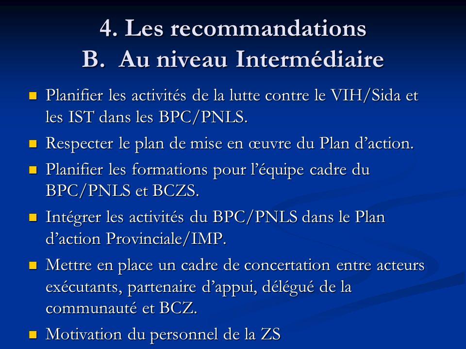 4. Les recommandations B. Au niveau Intermédiaire