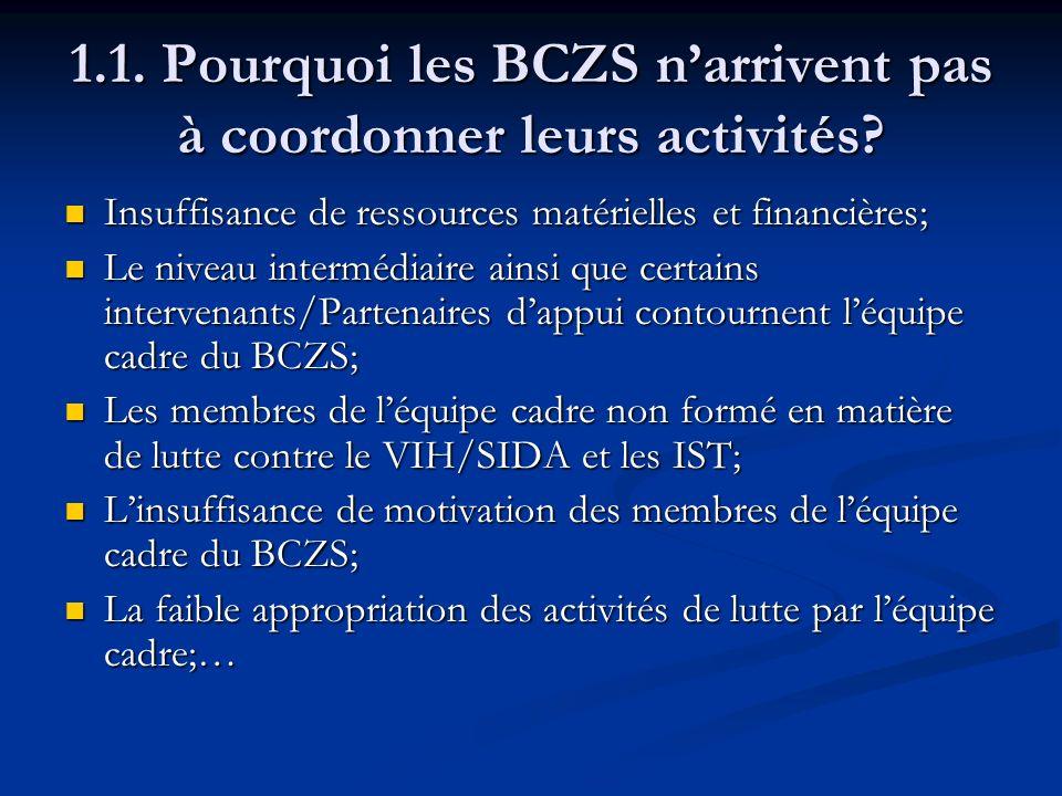 1.1. Pourquoi les BCZS n'arrivent pas à coordonner leurs activités