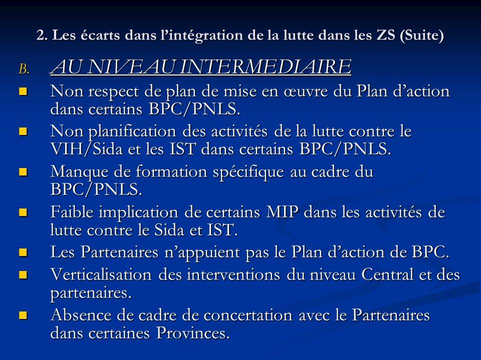 2. Les écarts dans l'intégration de la lutte dans les ZS (Suite)