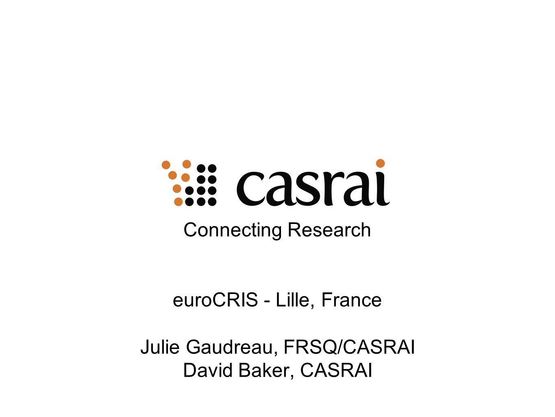 euroCRIS - Lille, France Julie Gaudreau, FRSQ/CASRAI