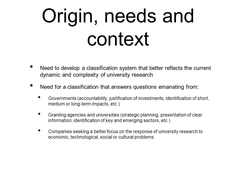 Origin, needs and context