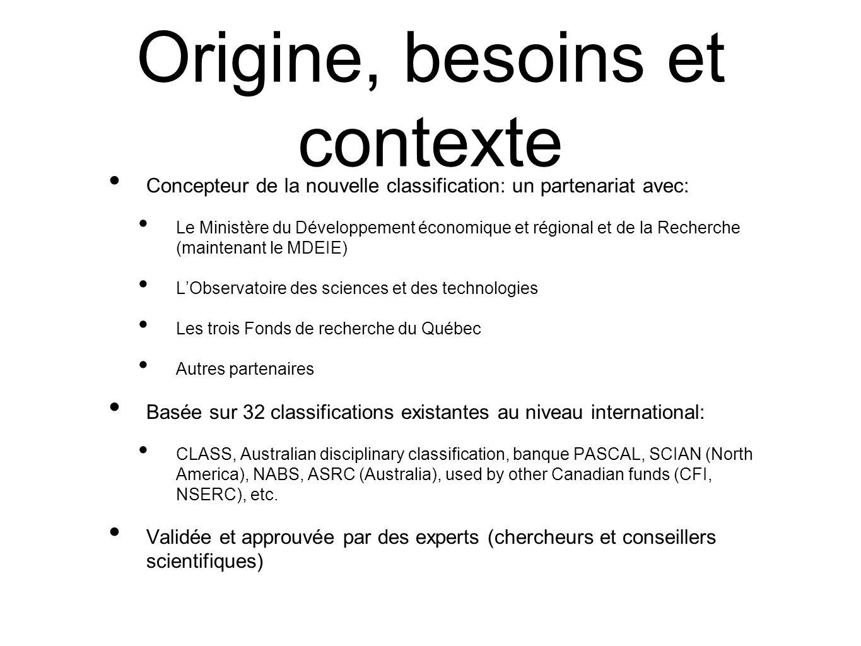 Origine, besoins et contexte