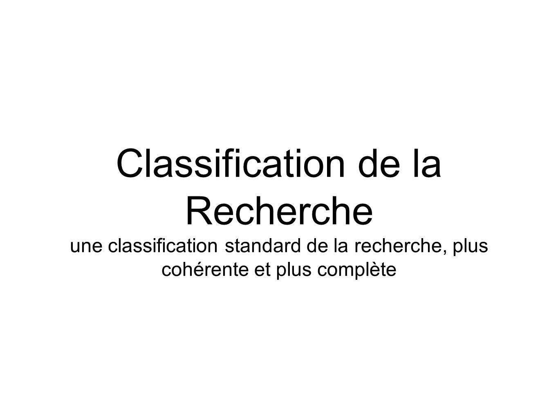 Classification de la Recherche une classification standard de la recherche, plus cohérente et plus complète
