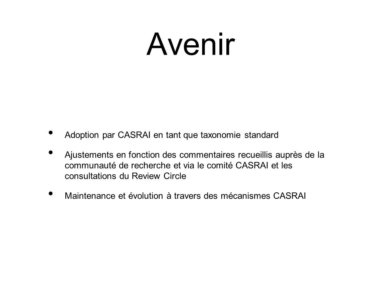 Avenir Adoption par CASRAI en tant que taxonomie standard