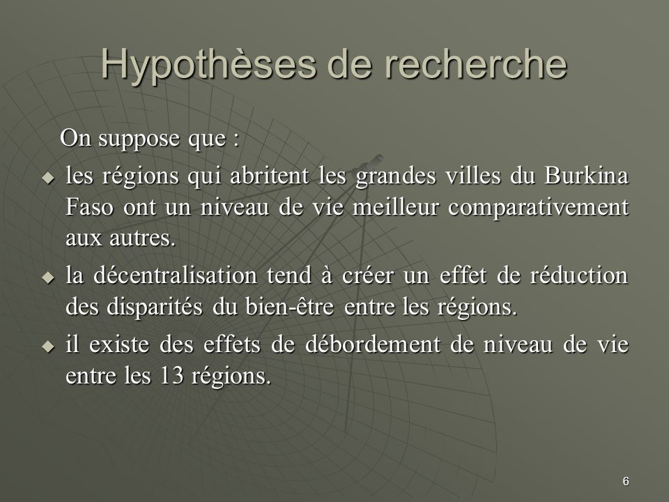 Hypothèses de recherche