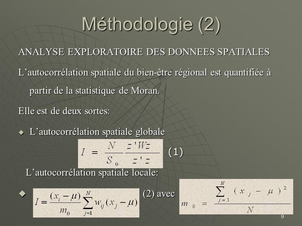 Méthodologie (2) (2) avec ANALYSE EXPLORATOIRE DES DONNEES SPATIALES