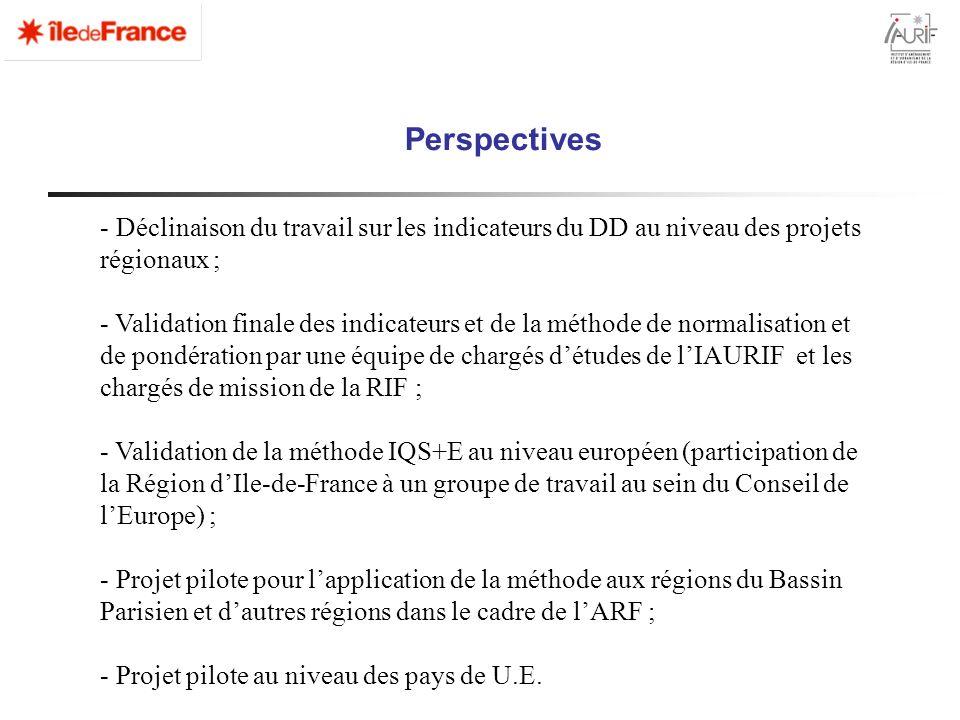PerspectivesDéclinaison du travail sur les indicateurs du DD au niveau des projets régionaux ;