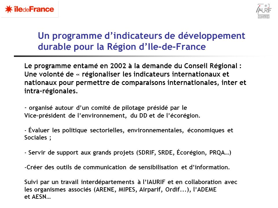 Un programme d'indicateurs de développement durable pour la Région d'Ile-de-France