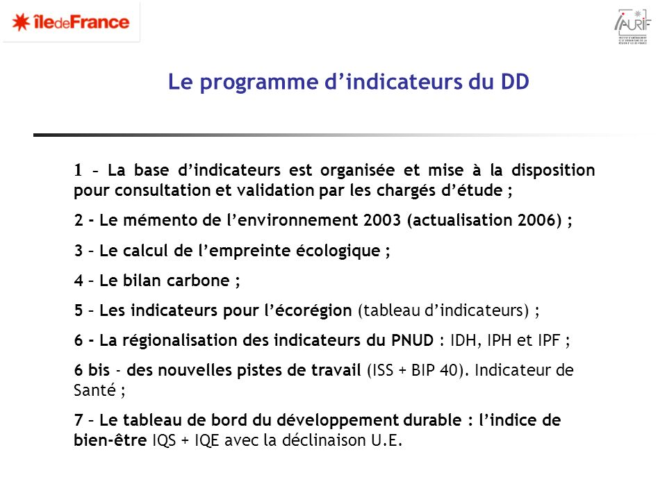 Le programme d'indicateurs du DD