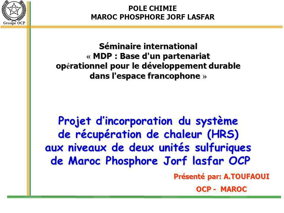 Projet d'incorporation du système de récupération de chaleur (HRS)
