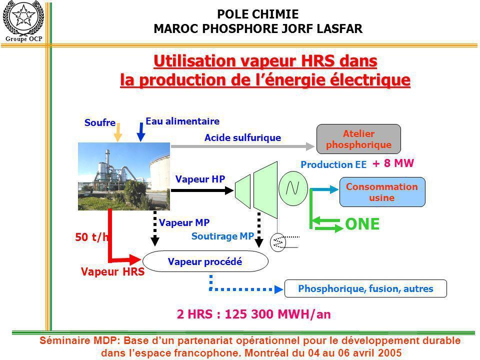 Utilisation vapeur HRS dans la production de l'énergie électrique ONE