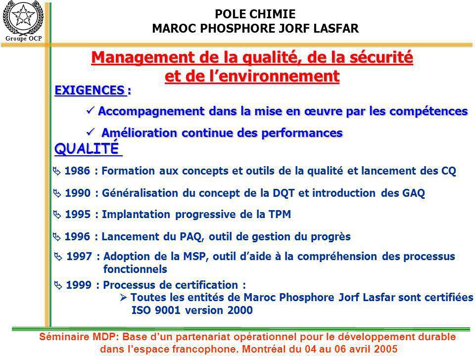 Management de la qualité, de la sécurité et de l'environnement