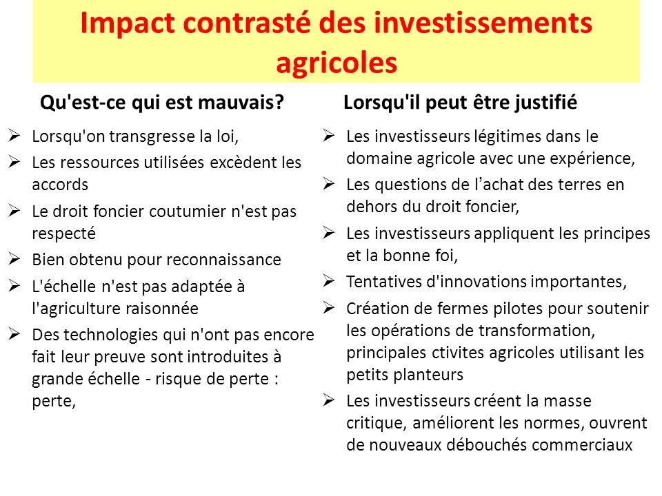 Impact contrasté des investissements agricoles