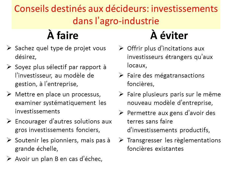 Conseils destinés aux décideurs: investissements dans l'agro-industrie