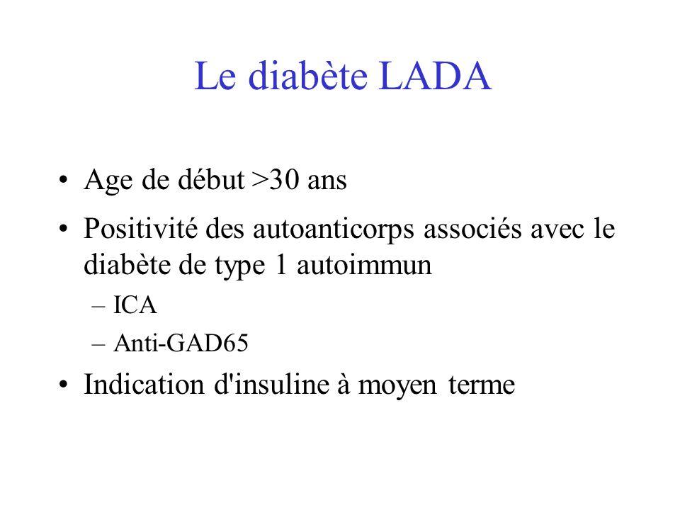 Le diabète LADA Age de début >30 ans