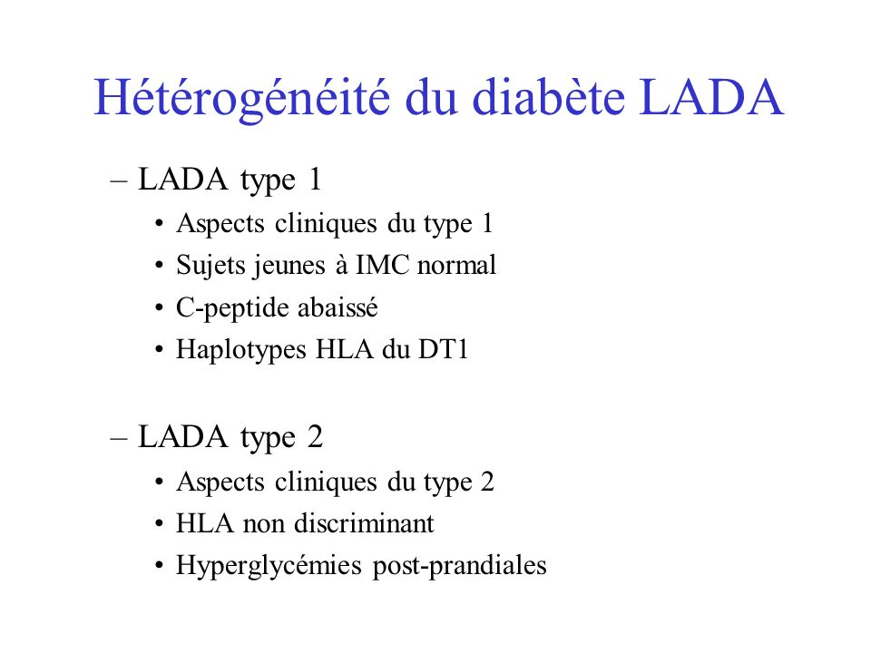 Hétérogénéité du diabète LADA