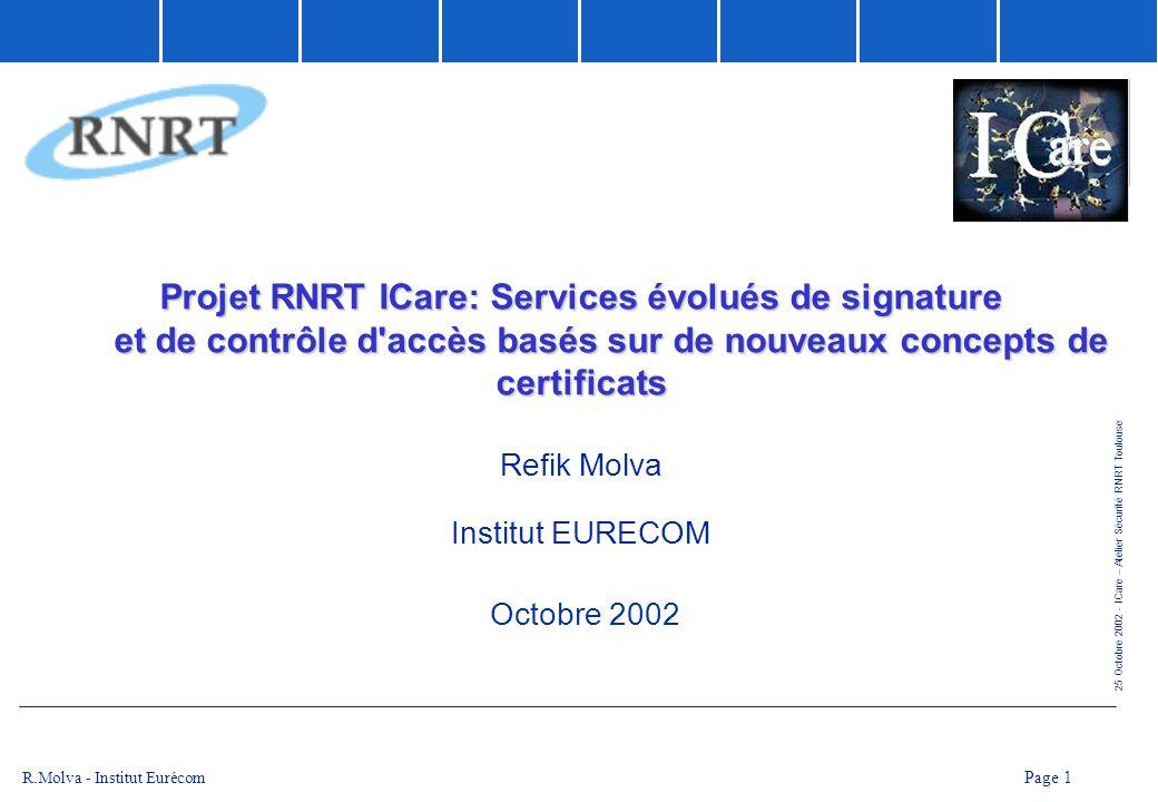 Projet RNRT ICare: Services évolués de signature