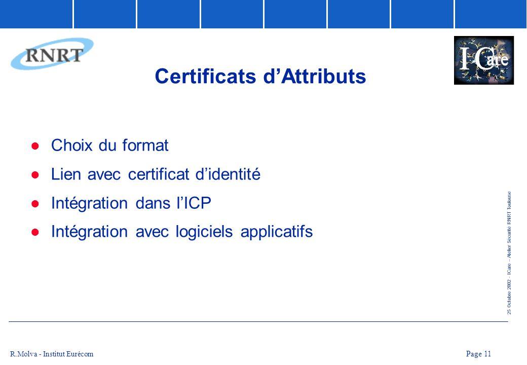 Certificats d'Attributs