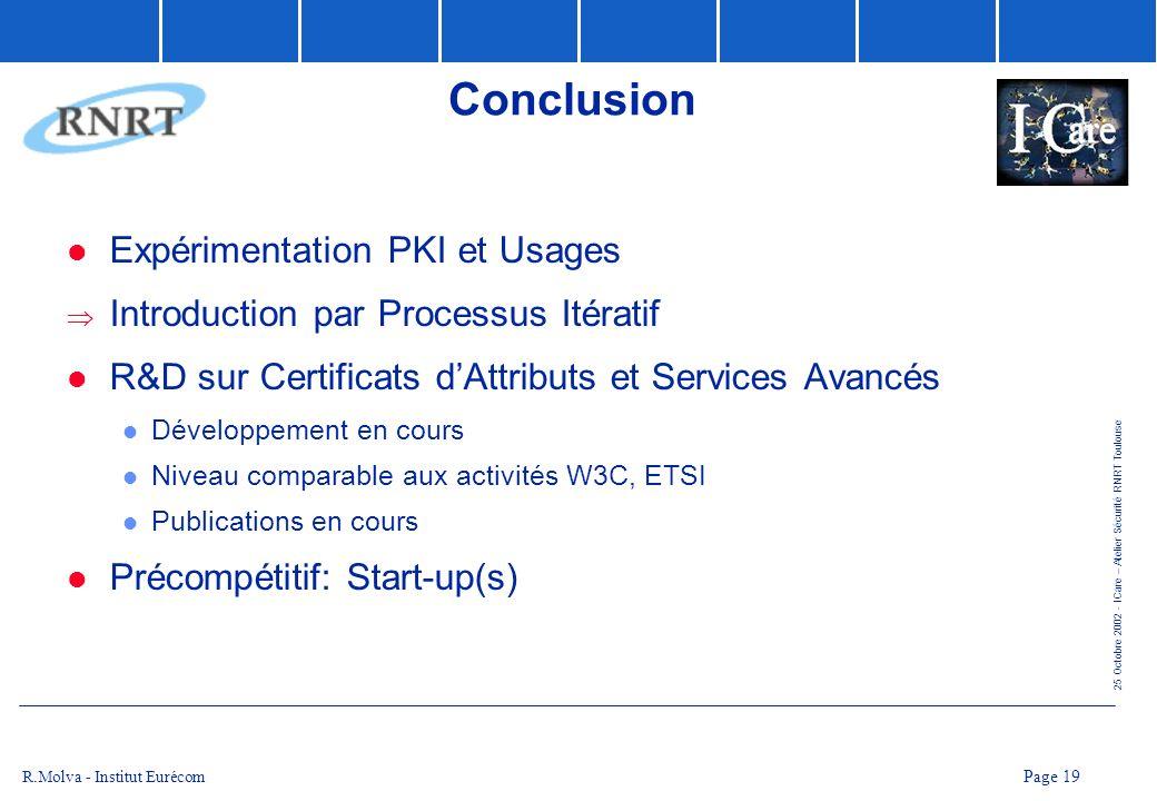 Conclusion Expérimentation PKI et Usages