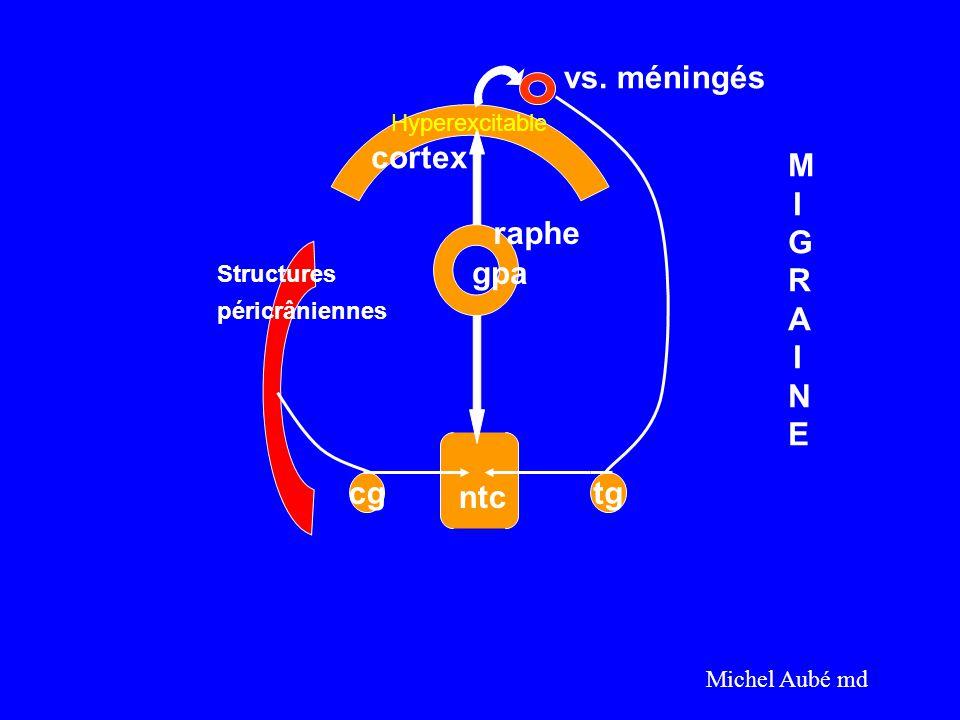 vs. méningés cortex MIGRAINE raphe gpa cg ntc tg Hyperexcitable