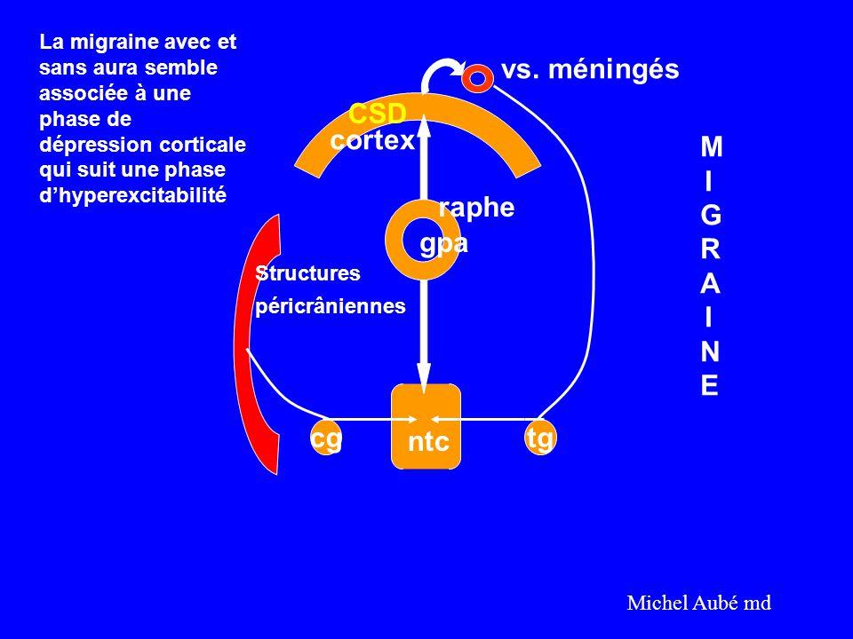 vs. méningés CSD cortex MIGRAINE raphe gpa cg ntc tg