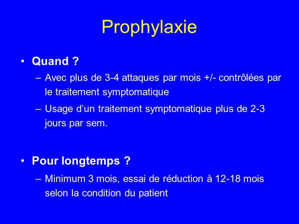 Prophylaxie Quand Pour longtemps