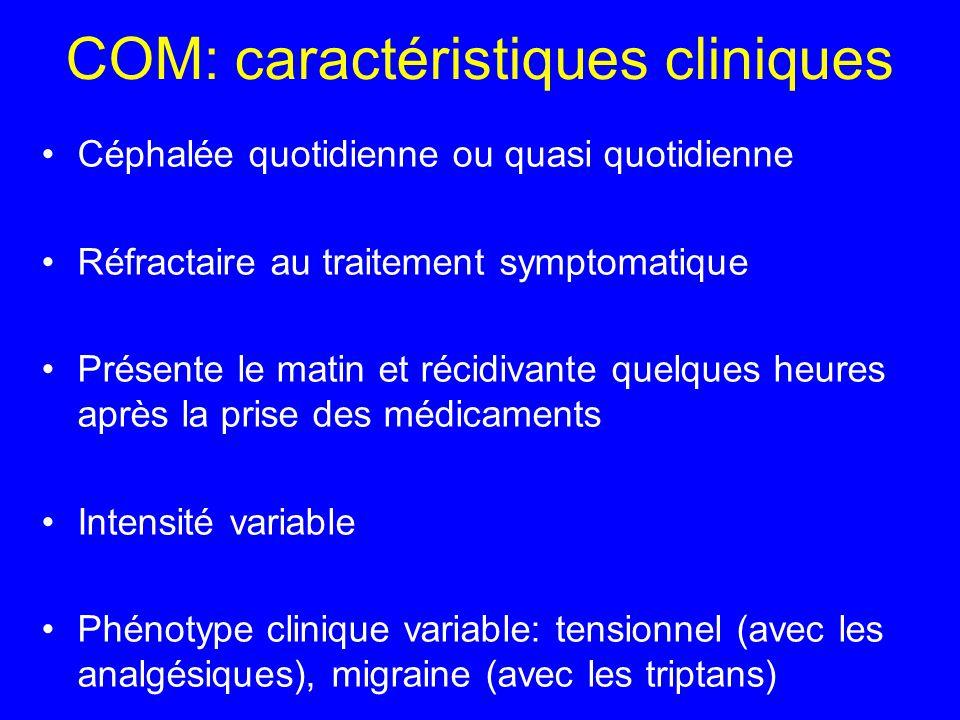 COM: caractéristiques cliniques