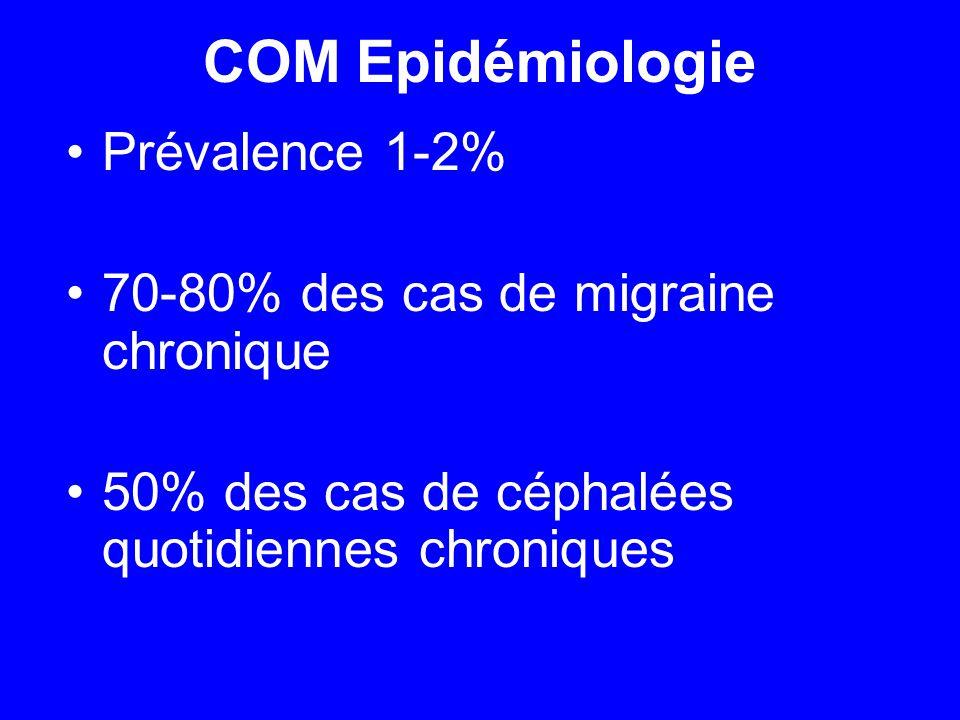 COM Epidémiologie Prévalence 1-2% 70-80% des cas de migraine chronique