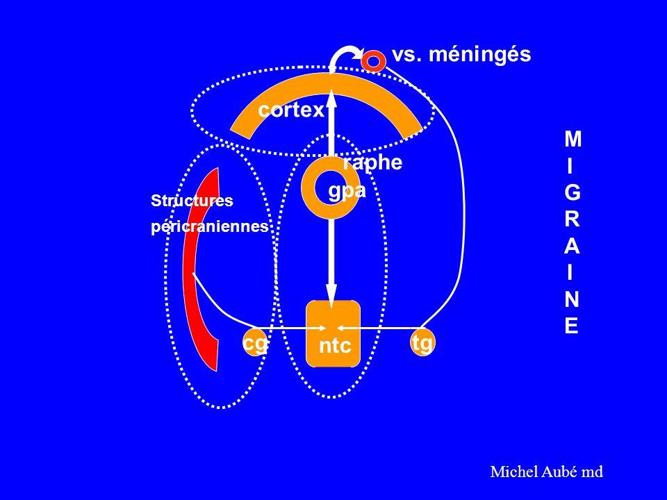 vs. méningés cortex MIGRAINE raphe gpa cg ntc tg Structures