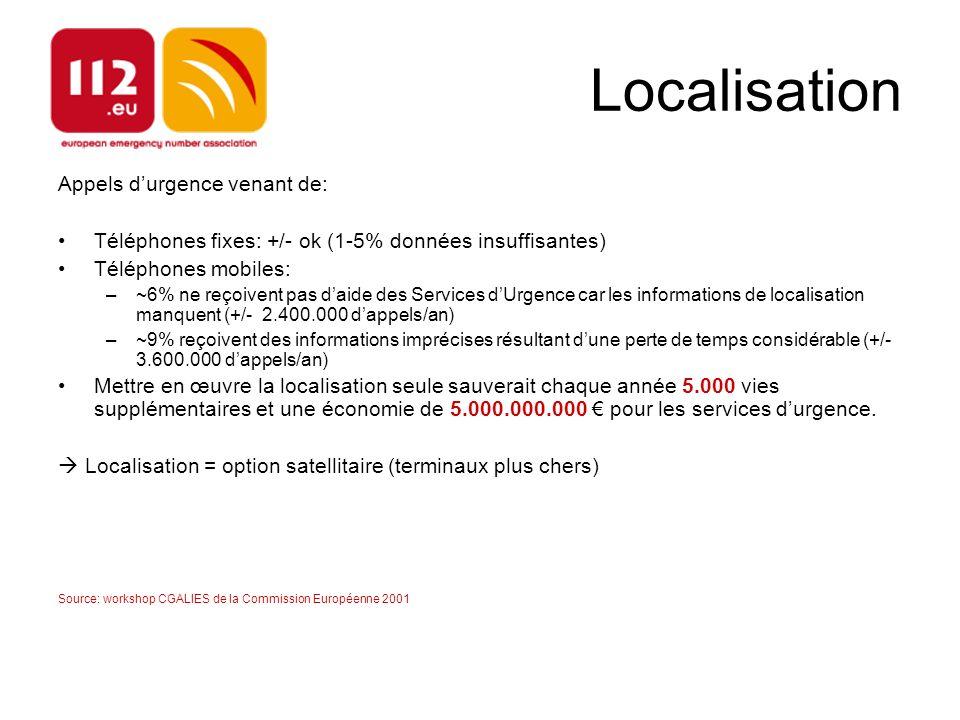 Localisation Appels d'urgence venant de: