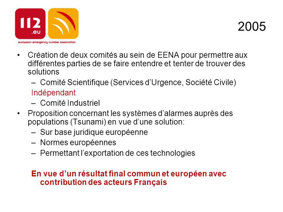 2005 Création de deux comités au sein de EENA pour permettre aux différentes parties de se faire entendre et tenter de trouver des solutions.