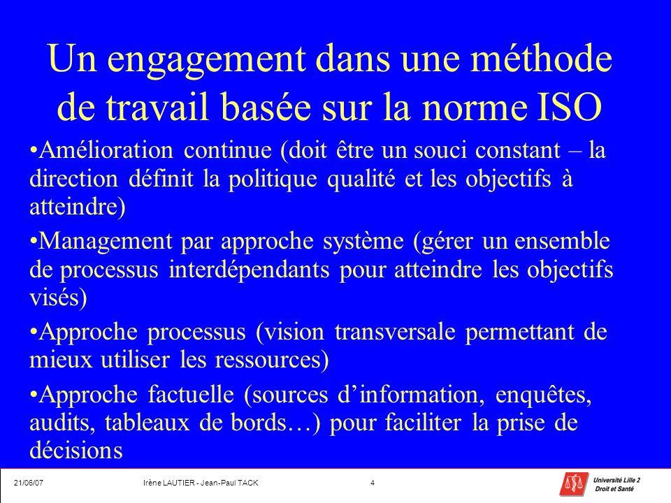 Un engagement dans une méthode de travail basée sur la norme ISO