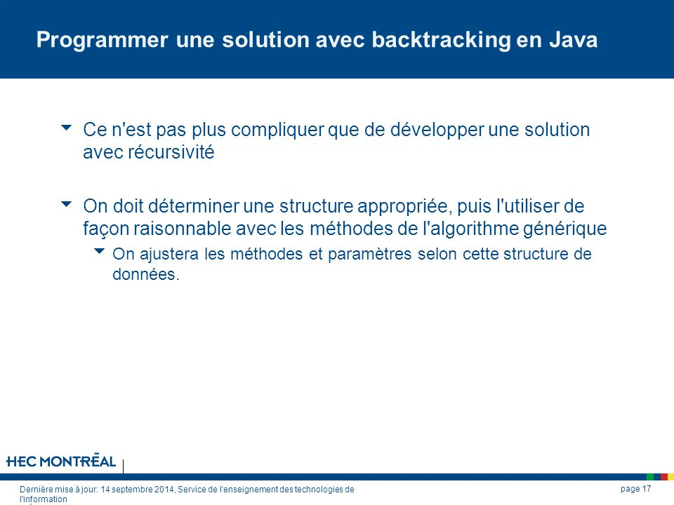 Programmer une solution avec backtracking en Java