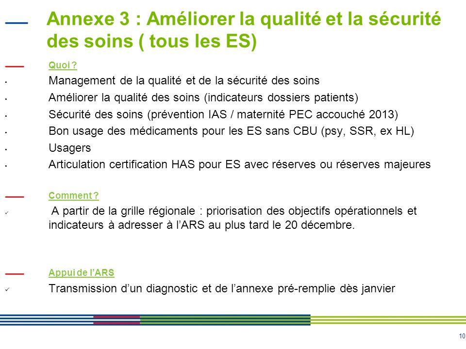 Annexe 3 : Améliorer la qualité et la sécurité des soins ( tous les ES)