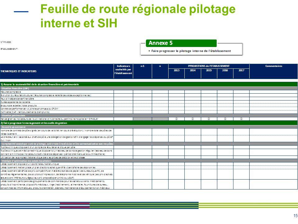 Feuille de route régionale pilotage interne et SIH